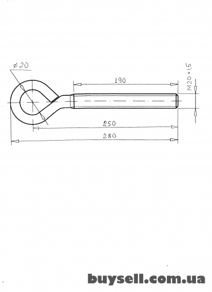 Крюк замкнутый M20x190 (шпилька) . изображение 2