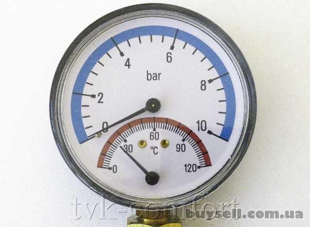 """Термоманометр вертикальный 1/2""""-120*C-10bar Watts арт.68801000 изображение 2"""