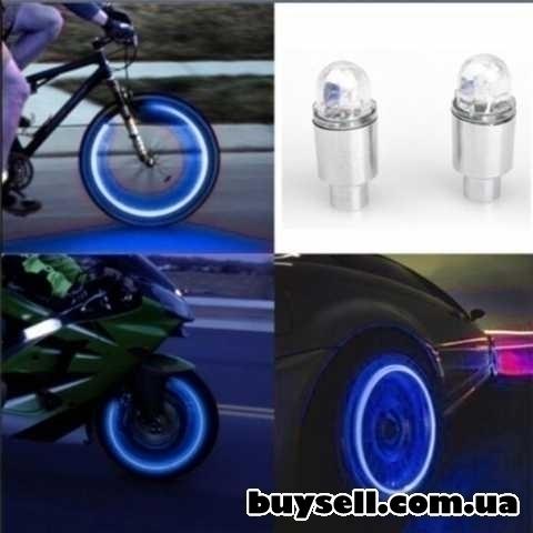 Авто-мото-вело аксессуары неоновый синий-красный строб светодидные изображение 4