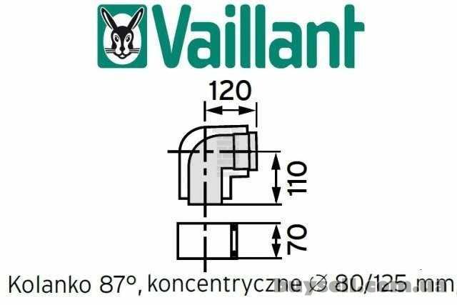 Отвод коаксиальный 87* 80/125мм.    Vaillant арт.    303210 из ППР изображение 4