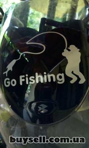 Наклейка На рыбалку Белая светоотражающая изображение 3
