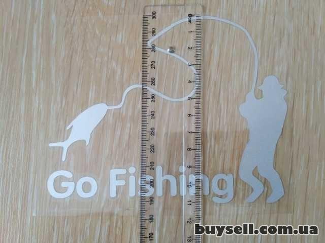 Наклейка На рыбалку Белая светоотражающая изображение 2