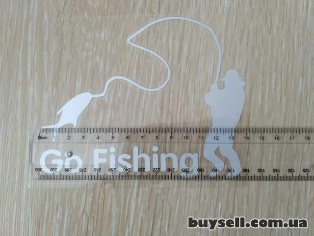 Наклейка На рыбалку Белая светоотражающая изображение 4