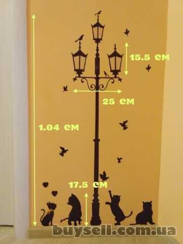 Наклейка на стену фонарный столб и котики , холодильник,  шкаф,  тумбо